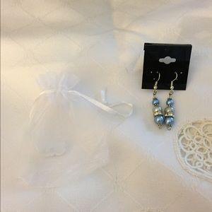 Beaded glass pearls drop earrings